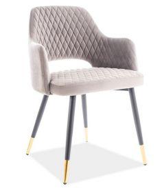 Jídelní čalouněná židle FRANCO velvet šedá/černá/zlatá