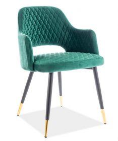 Jídelní čalouněná židle FRANCO velvet zelená/černá/zlatá