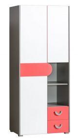 Šatní skříň FUTURO F1 grafit/bílá/výběr barev