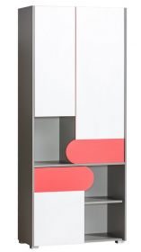 šatní skříň s regálem FUTURO F2 grafit/bílá/výběr barev