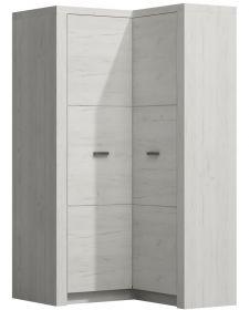 Rohová šatní skříň INDIANAPOLIS I-14 jasan bílý