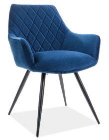 Jídelní čalouněná židle LINEA velvet modrá/černá