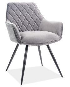 Jídelní čalouněná židle LINEA velvet šedá/černá
