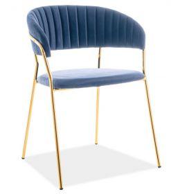 Jídelní čalouněná židle LIRA VELVET granátově modrá/zlatá