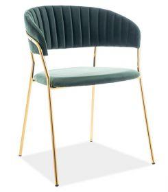 Jídelní čalouněná židle LIRA VELVET zelená/zlatá
