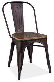 Jídelní kovová židle LOFT grafit/tm. ořech