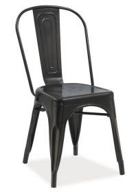 Jídelní kovová židle LOFT černá mat