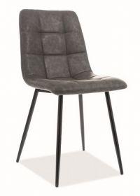 Jídelní čalouněná židle LOOK ekokůže šedá/černá