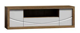 Televizní stolek PARIS P5 bílý lesk/dub Stirling
