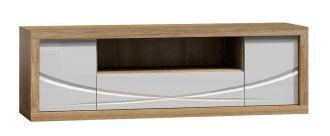 Televizní stolek PARIS P5 bílý lesk/dub Sanremo