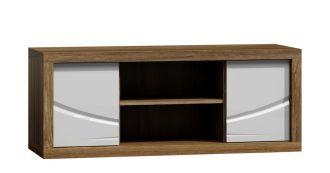 Televizní stolek PARIS P6 bílý lesk/dub Stirling