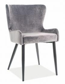 Jídelní čalouněná židle PASSO II velvet šedá/černá mat