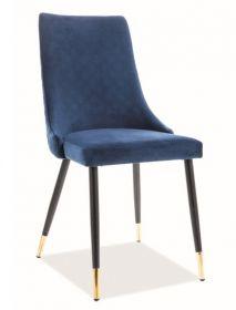 Jídelní čalouněná židle PIANO velvet modrá/černá/zlatá