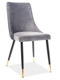 Jídelní čalouněná židle PIANO velvet šedá/černá/zlatá