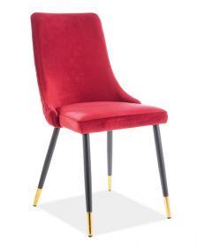 Jídelní čalouněná židle PIANO velvet červená/černá/zlatá