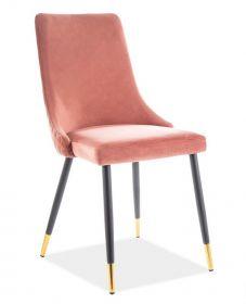 Jídelní čalouněná židle PIANO velvet starorůžová/černá/zlatá