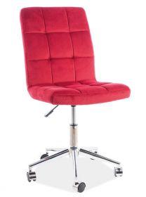 Kancelářská židle Q-020 VELVET červená bordó