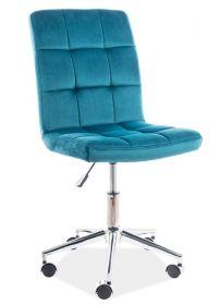 Kancelářská židle Q-020 VELVET tyrkysová