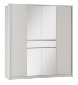 Šatní skříň RIJEKA 200 bílá/zrcadlo