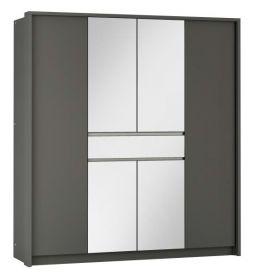 Šatní skříň RIJEKA 200 grafit/zrcadlo