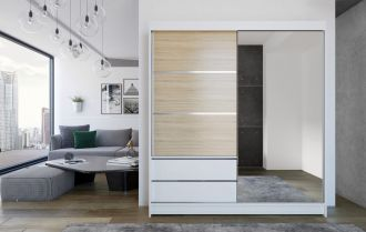 Skříň s posuv. dveřmi 180 cm THEODOR bílá/sonoma/zrcadlo