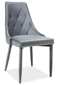 Jídelní čalouněná židle TRIX VELVET II šedá