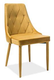 Jídelní čalouněná židle TRIX velvet žlutá curry