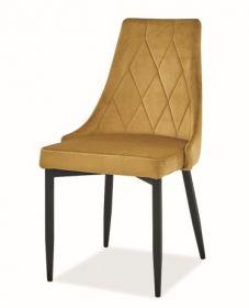 Jídelní čalouněná židle TRIX B velvet žlutá curry/černá
