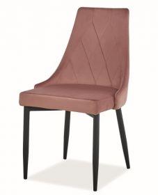 Jídelní čalouněná židle TRIX B velvet starorůžová/černá