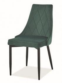 Jídelní čalouněná židle TRIX B velvet zelená/černá
