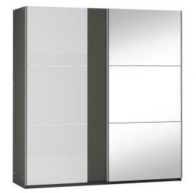 Šatní skříň TUNIS P200 grafit/bílá lesk