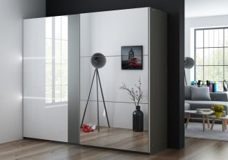 Šatní skříň TUNIS 250 grafit/bílá lesk