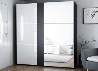 Šatní skříň SACRAMENTO 200 černá/bílá lesk
