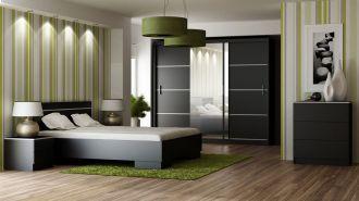 Ložnice VISTA černá - postel+komoda+skříň+noční stolky