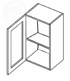 W40WL horní vitrína jednodvéřová NORA de LUX hruška čiré sklo