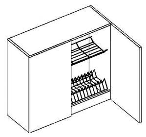 W80SU horní skříňka s odkapávačem PAULA šedá/mat. šedá