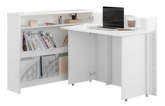Rozkládací psací stůl pravý REBECCA bílý lesk