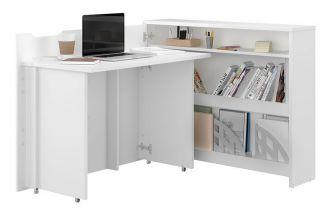 Rozkládací psací stůl levý REBECCA bílý lesk