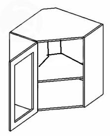 WR60WL horní vitrína rohová MERLIN čiré sklo