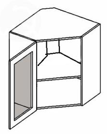 WR60WL horní vitrína rohová MERLIN mraž. sklo