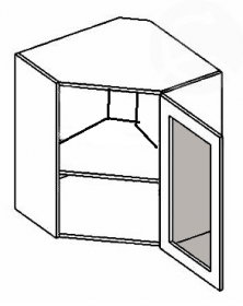 WR60WMR horní vitrína rohová NORA de LUX hruška mraž. sklo