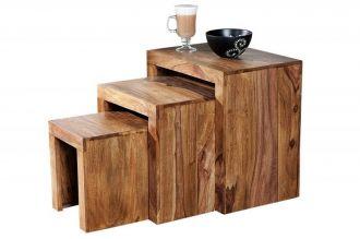 3SET Odkládací stolek MADEIRA masiv sheesham