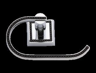 luxusní držák na ručník oblouk MIMOZA SILVER, černé krystaly