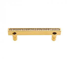 luxusní úchytka 128mm MIMOZA GOLD s potahem 24 kt zlata a krystaly
