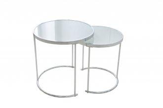 2SET odkládací stolek ART DECO WHITE