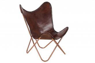 Židlo-křeslo BUTTERFLY BROWN pravá kůže