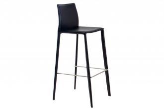 Barová židle MILANO černá lepená kůže