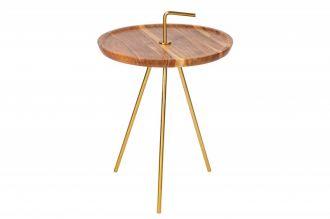 Odkládací stolek SIMPLY CLEVER 41 CM GOLD masiv akácie