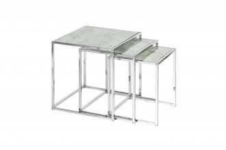 3SET konferenční-odkládací stolek ELEMENTS WHITE skleněný mramor