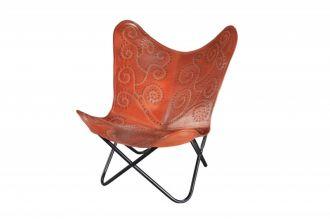 Židlo-křeslo BUTTERFLY LIGHT BROWN pravá kůže